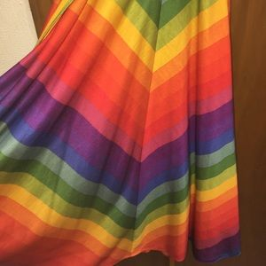 Vintage bold rainbow sun dress with tie belt